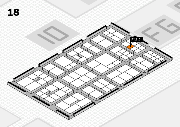 EuroShop 2017 hall map (Hall 18): stand E13-2