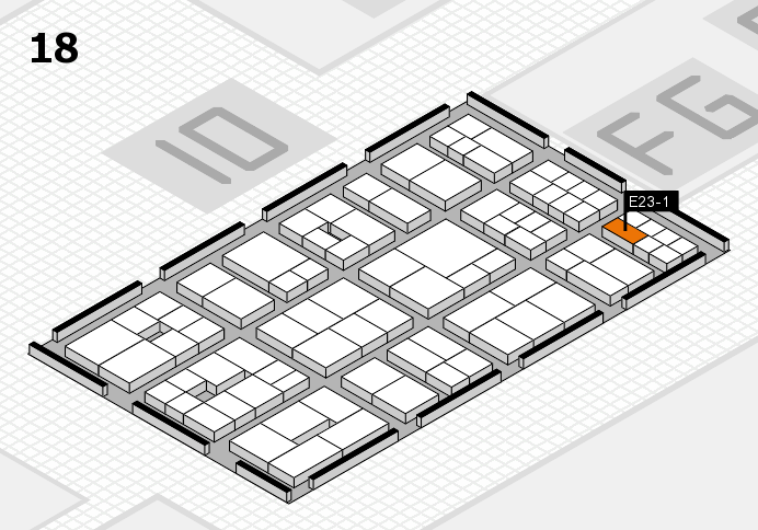 EuroShop 2017 hall map (Hall 18): stand E23-1