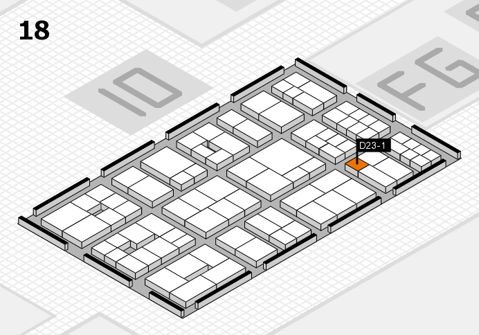 EuroShop 2017 hall map (Hall 18): stand D23-1
