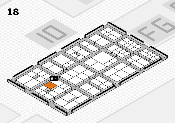 EuroShop 2017 hall map (Hall 18): stand B14