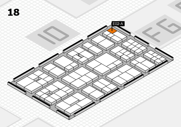 EuroShop 2017 hall map (Hall 18): stand E02-A