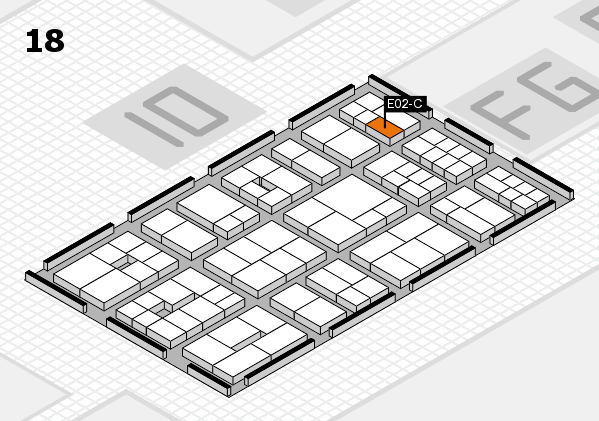 EuroShop 2017 hall map (Hall 18): stand E02-C
