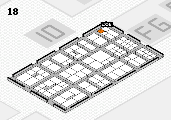 EuroShop 2017 hall map (Hall 18): stand E02-E