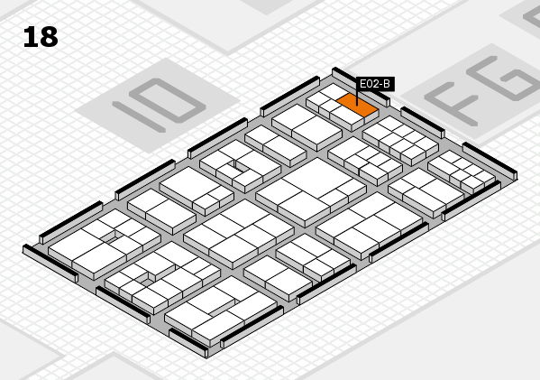 EuroShop 2017 hall map (Hall 18): stand E02-B