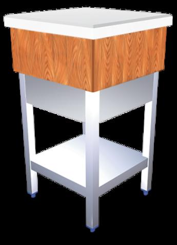 Wooden and white polyethylene chopping block