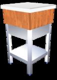 Hackblock aus Holz, mit weißer Polyethylenplatte und Ablageboden