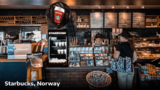 Holographic advertising at Starbucks cafe in Norway