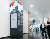 Messe Dortmund relies on kompas to digitally control the multi-function column and plan content on the screen. (Source: Messe Dortmund /Jannes Jeising)