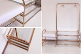 Polished brass clothes rack and seating