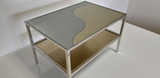 White gold plated table with brass and stainless steel top