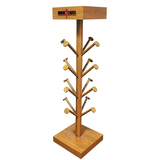 wooden hat display stand with hooks
