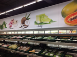 Interieur Kommunikation Textilrahmen Supermarkt