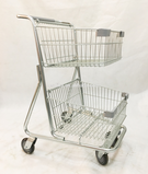 American style double metal basket shopping cart