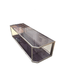 Metal with glass table
